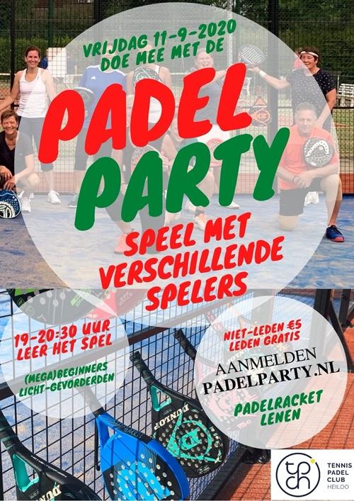 Flyer Padel Party 11 september 2020