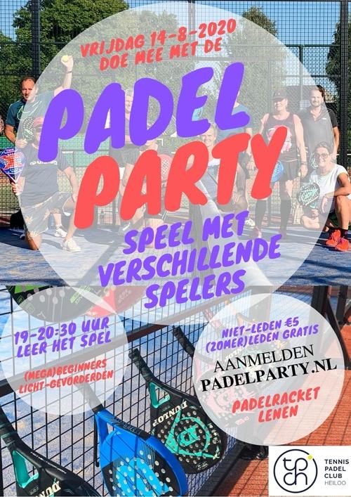 Flyer Padel Party 14 augustus 2020
