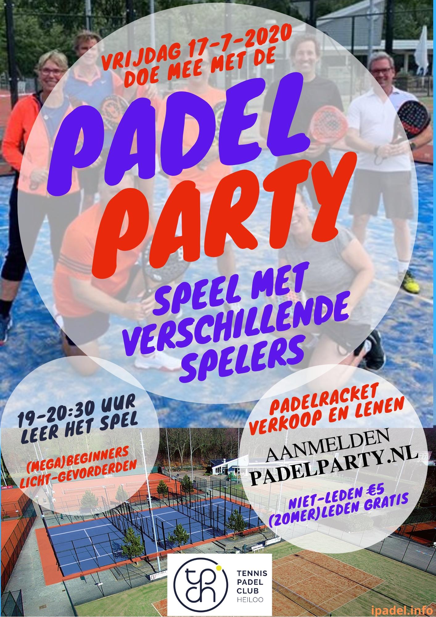 Flyer Padel Party beginners juli 2020