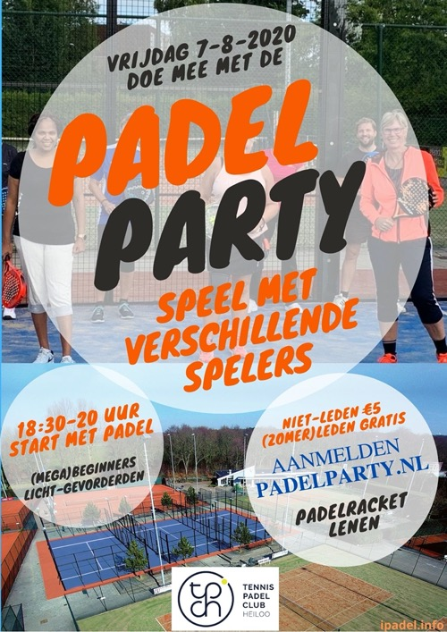 Flyer Padel Party beginners augustus 2020