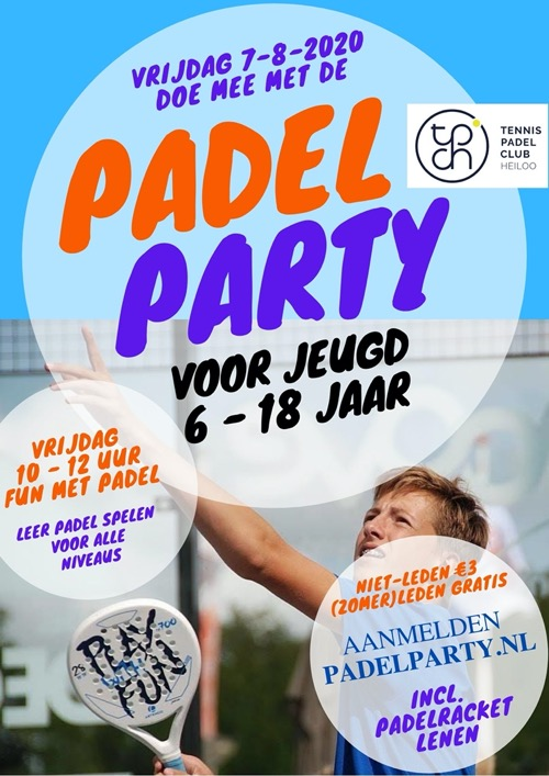 Flyer Padel Party Jeugd augustus 2020