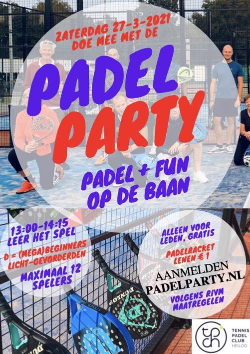 Flyer Padel Party 27 maart 2021