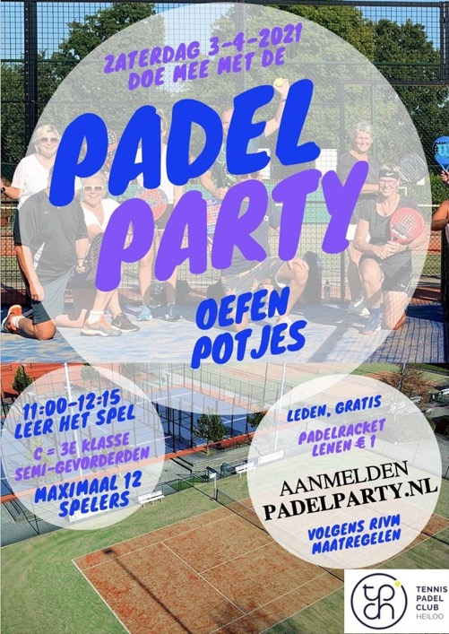 Flyer Padel Party 3 april 2021