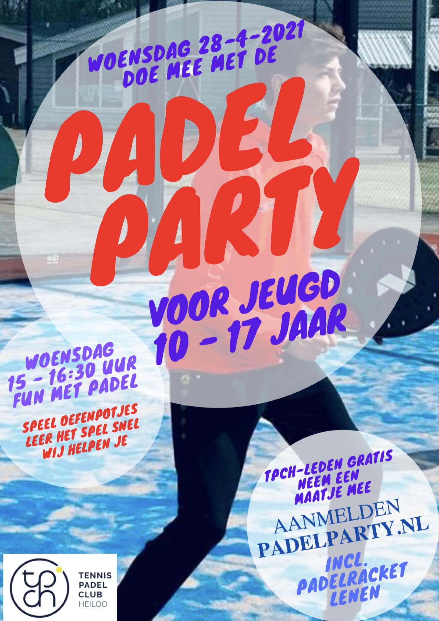 Flyer Padel Party Jeugd 28 april 2021